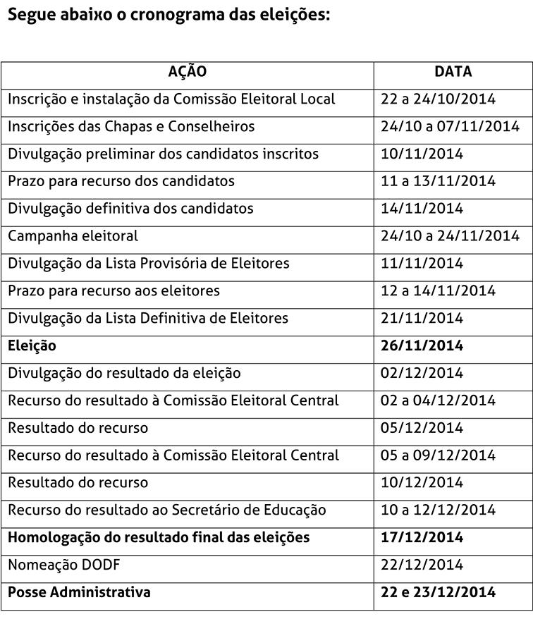 Cronograma do concurso de rejamenajmento 2014